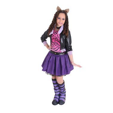 750f04c165 Fantasia Clawdeen Wolf Infantil Luxo - Monster High P