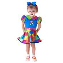 Imagem de linda menininha com fantasia de bebê palhaço para meninos e meninas