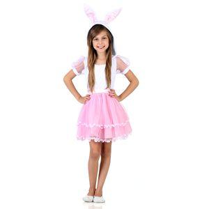 Foto de menina com fantasia infantil coelhinha com lindo vestido