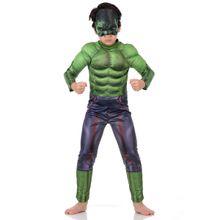 Fotografia de menino com a fantasia infantil do Hulk ideal para as crianças
