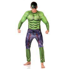 Foto de homem com fantasia para adulto do Hulk tipo macacão