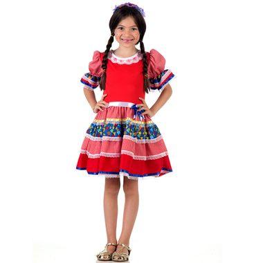 42da711456 Fantasia Caipira Chic Infantil Vermelho - Festa Junina M