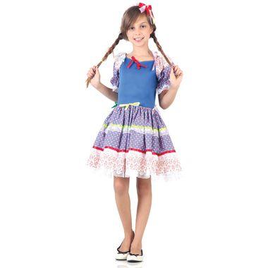 f07d241179 Fantasia Caipira Laços Infantil Azul - Festa Junina M