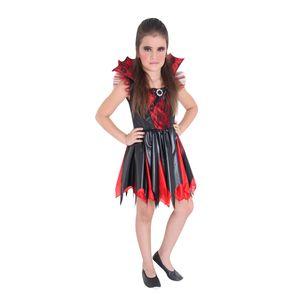 Imagem de menina usando fantasia infantil vampira para festas
