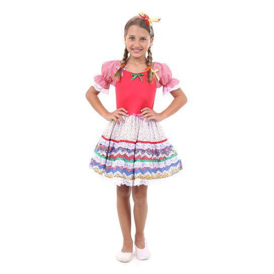 89a4523035 Fantasia Caipira com Laços Vermelho Infantil - Festa Junina P
