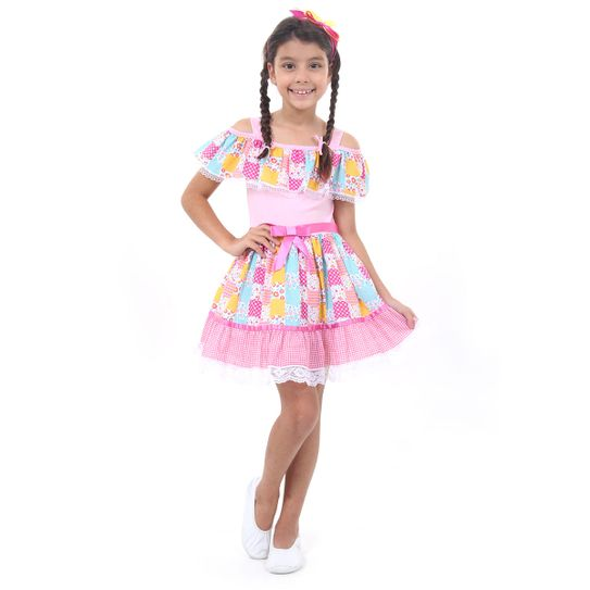 cb359588e47dd Fantasia Caipira Julina Infantil Luxo - Festa Junina P