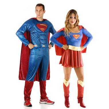 ee944bce77 Fantasia de Casal Super Homem e Super Mulher Adulto