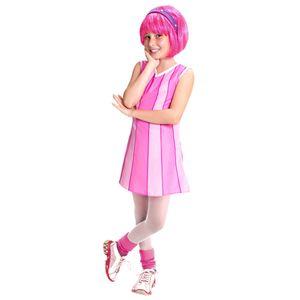 Foto de uma menina com a fantasia infantil da personagem Stephanie Lazy Town