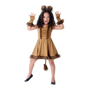 Fantasia Leoa Vestido Infantil Luxo