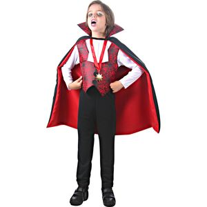 Imagem de menino utilizando fantasia infantil Conde Drácula para o Halloween
