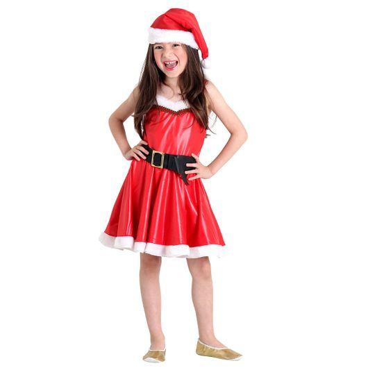 Foto de menina com linda fantasia infantil da Mamãe Noel