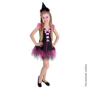 Linda foto de menina usando fantasia infantil bruxa charmosa