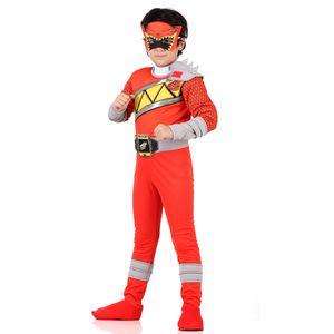 Imagem de menino com fantasia Power Ranger vermelho