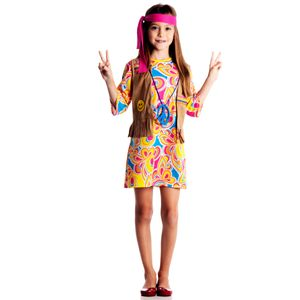 Foto de menina com fantasia hippie infantil na loja AbraKadabra