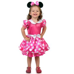 Foto da fantasia Bebê Minnie rosa com vestido de bolinhas