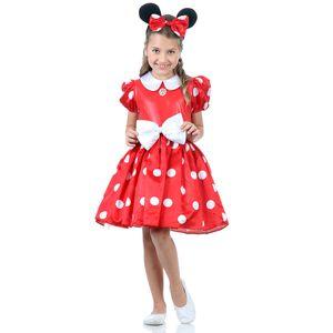 Foto de menina com a fantasia infantil vermelha Minnie