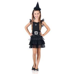 Foto da fantasia bruxinha infantil preta para festas