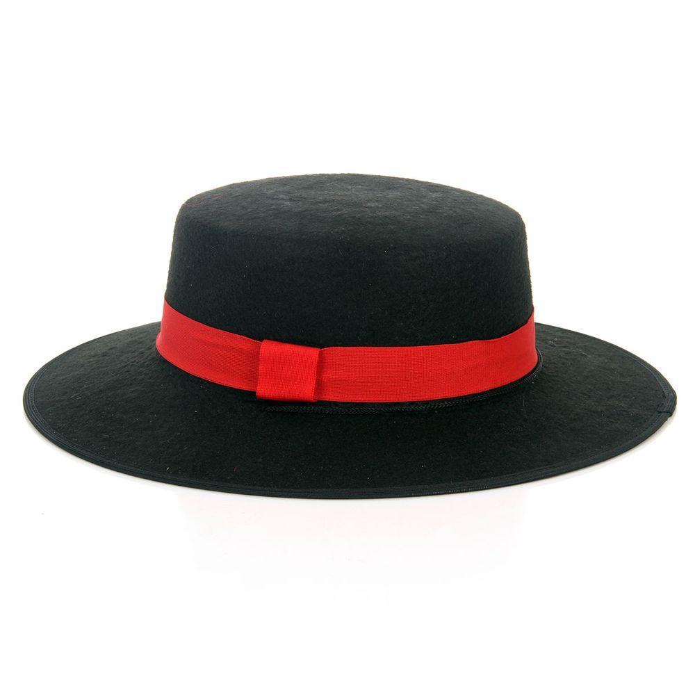 Chapéu Zorro - Preto com Vermelho Unica 1e961ee30c0
