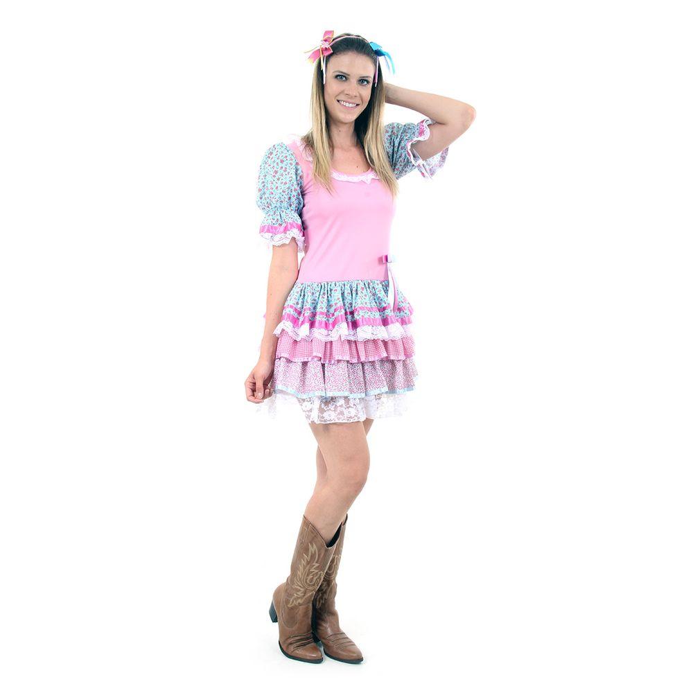 bbf1afe83b616 Fantasia de Festa Junina Adulto Feminino Vestido Caipira de Luxo