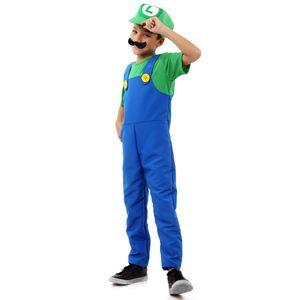 Fantasia Luigi Infantil Luxo - Super Mario