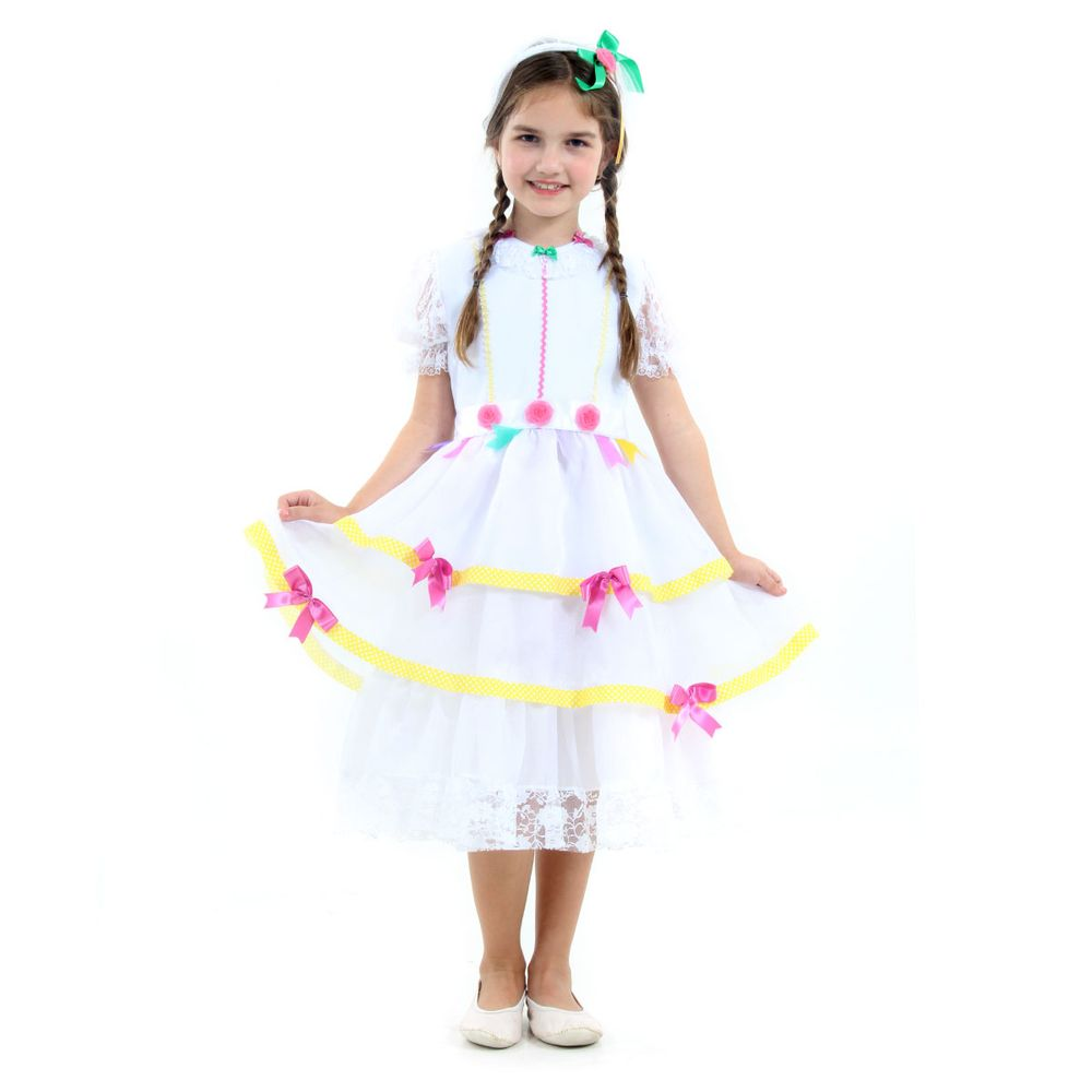Fantasia Caipira Flor Azul Infantil - Festa Junina  fc19fcf4c9e