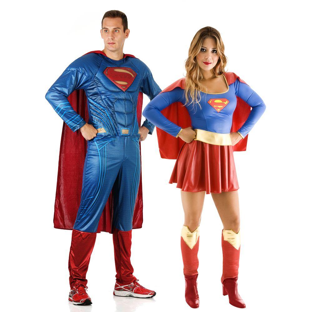 4b39a282e5c8f6 Fantasia de Casal Super Homem e Super Mulher Adulto - Abrakadabra